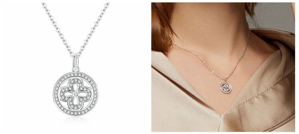 Bamoer Clover Jewelry-Four clover Pendant Necklace