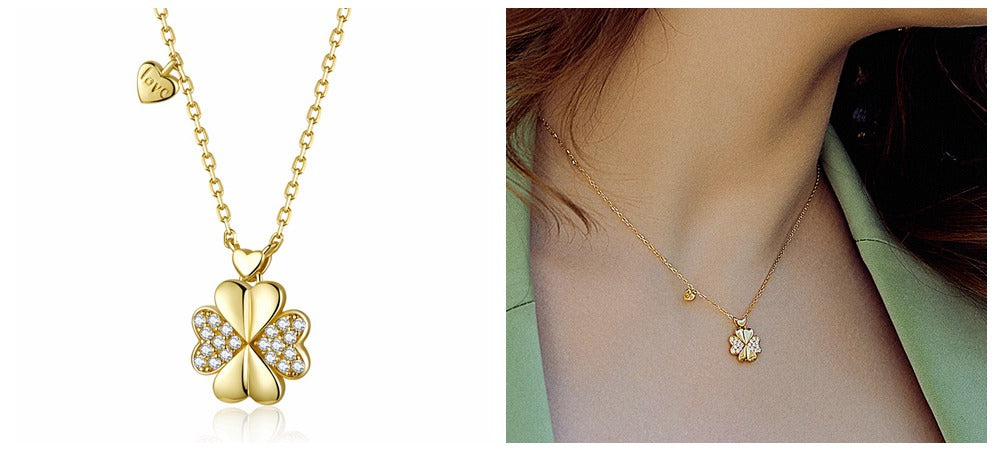 Bamoer Clover Jewelry-Four clover Pendant Necklace 14k gold