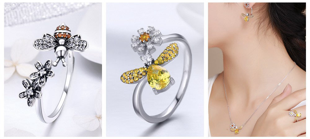 Bamoer Lovely Bee Ring Jewelry for the Super Sweet Ones