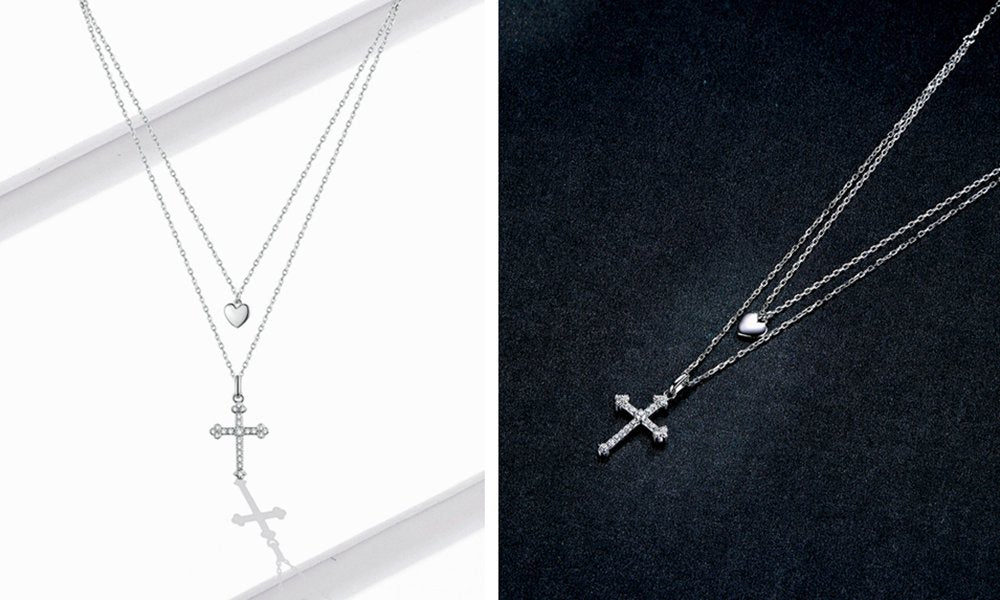 Layering Cross Necklace with Heart