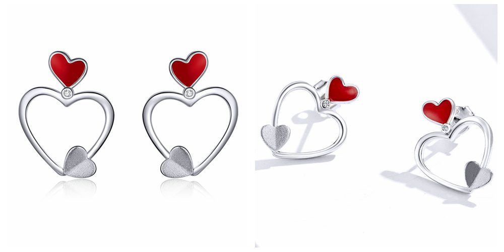 Qixi Festival 6 Red Heart Earrings Stud to celebrate Chinese Valentine's Day