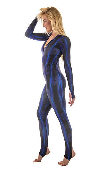 Sun protective skinsuit from SlipIns in electric blue wave pattern