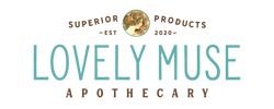 The Lovely Muse Apothecary Logo, vintage style with a Alphonse Mucha Artwork. Vintage 30's style font in teal and brown