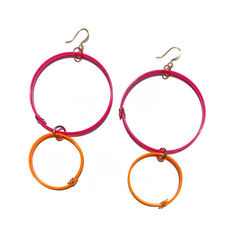 Flower Power Double Hoop Earrings- Hot Pink+Orange