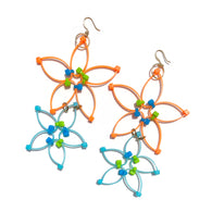 Flower Power Double Earrings- Orange+Blue
