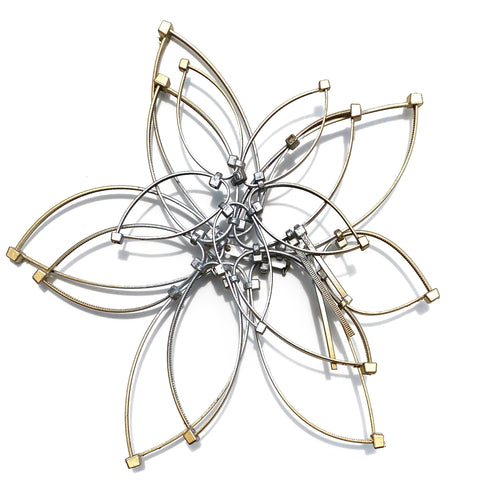 Flower Power Brooch/Necklace- Gold/Silver Ombre (Large)