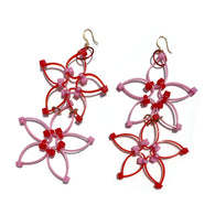 Flower Power Double Earrings- Red+Pink