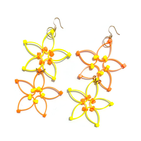 Flower Power Double Earrings- Yellow+Orange
