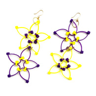 Flower Power Double Earrings- Purple+Yellow
