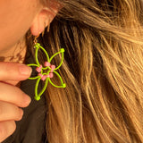 Flower Power Earrings- Lime+Pink