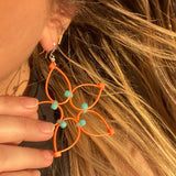 Flower Power Earrings- Orange+Blue