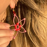 Flower Power Earrings- Pink+Red