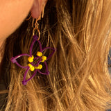 Flower Power Earrings- Purple+Yellow