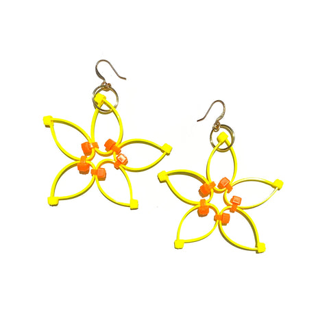Flower Power Earrings- Yellow+Orange