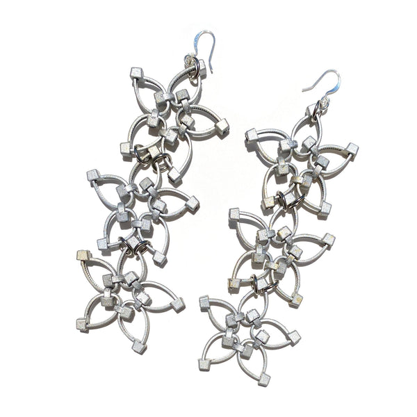 Flower Power Triple Earrings- Silver