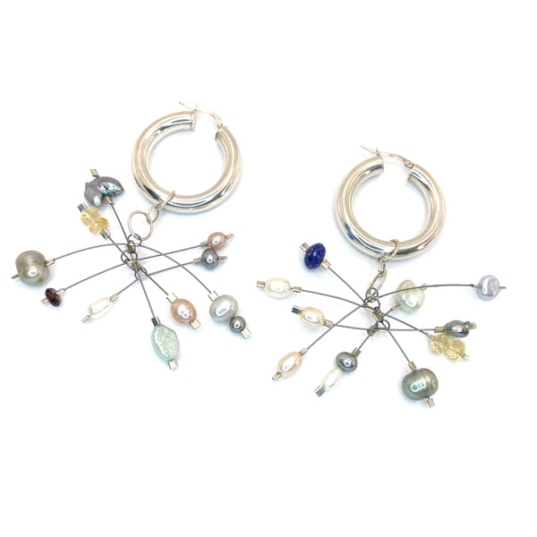 Kinetic Mobile Gemstone Hoops