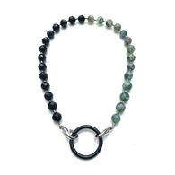 Sea Change Bead Mask Chain Necklace- Onyx+Moss Agates