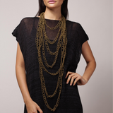 Sea Change Bronze Crochet Drip Necklace