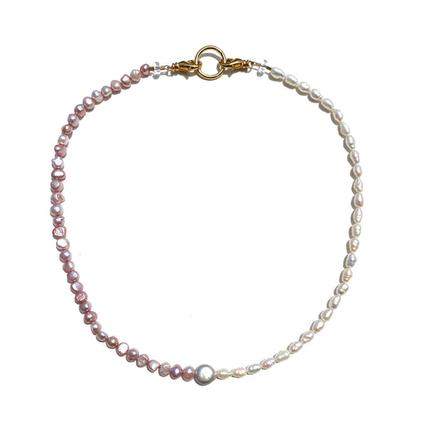 Sea Change Pearl Mask Chain Necklace- Pink Yin Yang
