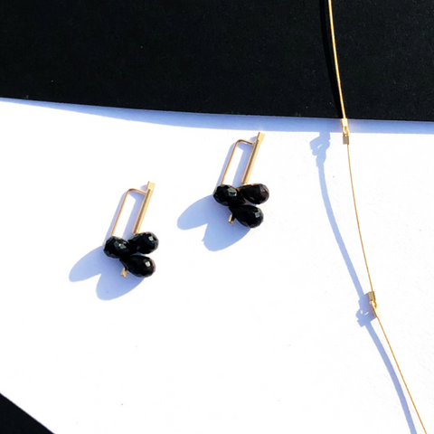 Teardrop Briolettes in Faceted Onyx