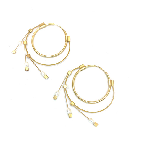 Small Spring Hoops with White Pearl and Gold