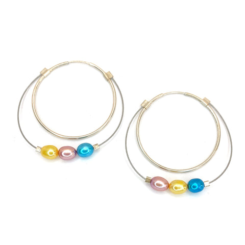 Large Stone Hoops in Pastel Primary Pearls and Silver