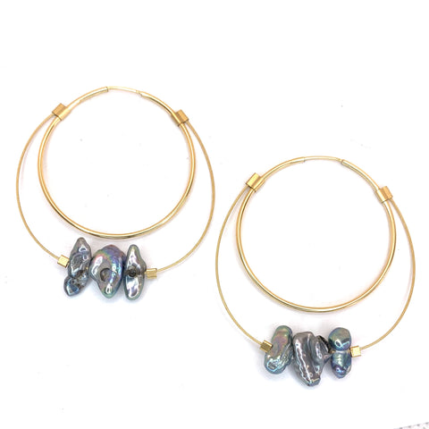 Large Stone Hoops in Rough Keshi Peacock Pearls and Gold