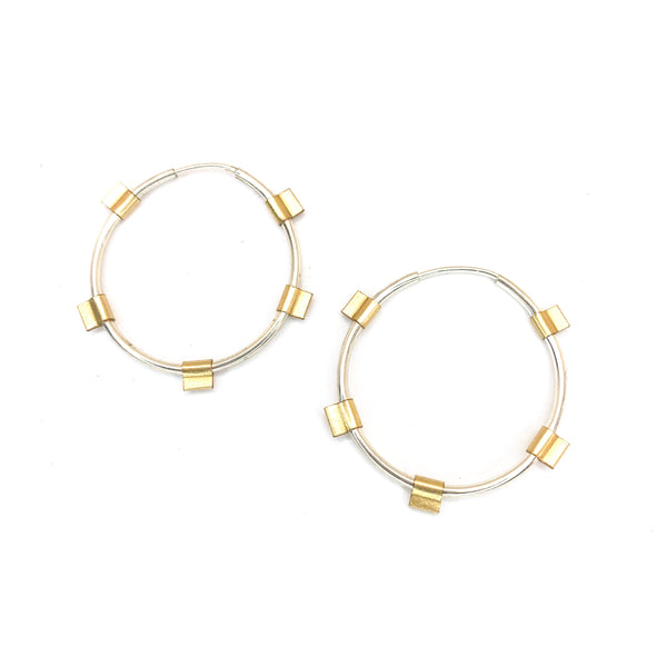 Tab Hoops- Small in Silver with Gold