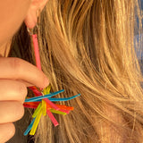 Tassel Remnant Cluster Hook Earrings- Neon