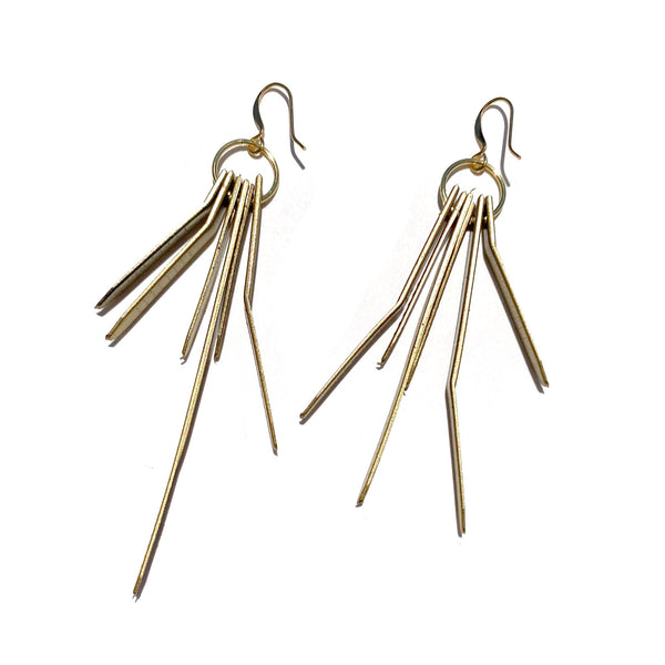 Tassel Remnant Hook Earrings- Gold Mini