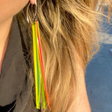 Tassel Remnant Hook Earrings- Neon Long