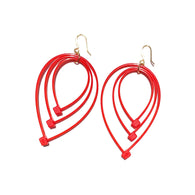 Flower Power Teardrop Earrings- Red