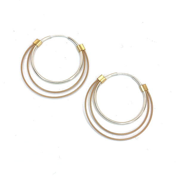 Small Trip Hoops in Rose Gold on Silver Hoops with Gold Accents