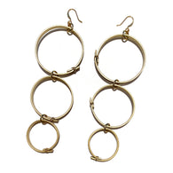 Flower Power Triple Hoop Earrings- Gold
