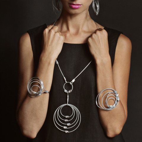 MPR Maxi Cable Collection: Rings Pendant Necklace in Steel