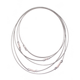 MPR Maxi Cable Collection: Cinq Mobius Necklace in Steel with Freshwater Pearls