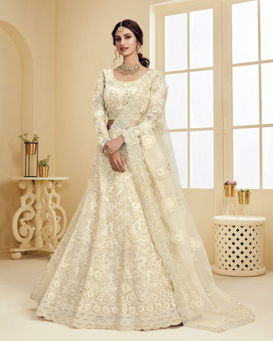 Net Wedding Lehenga Choli In Off White Color