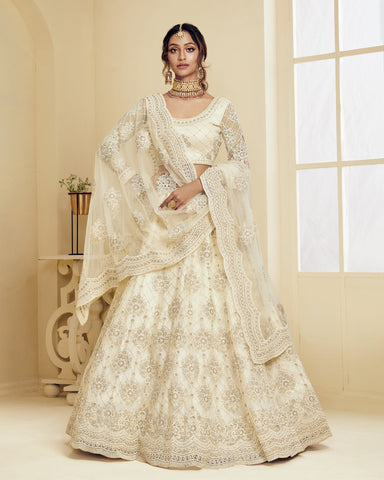 Off White Color Wedding Lehenga Choli In Net Fabric