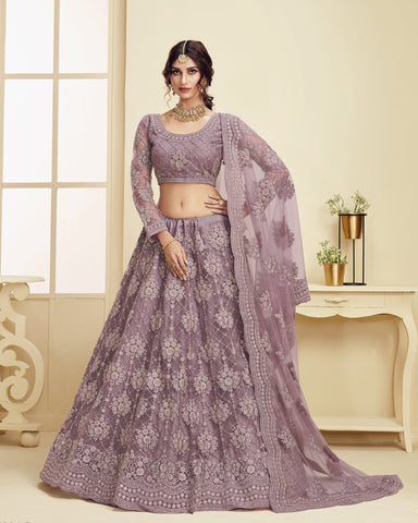 Violet Color Wedding Lehenga Choli In Net Fabric