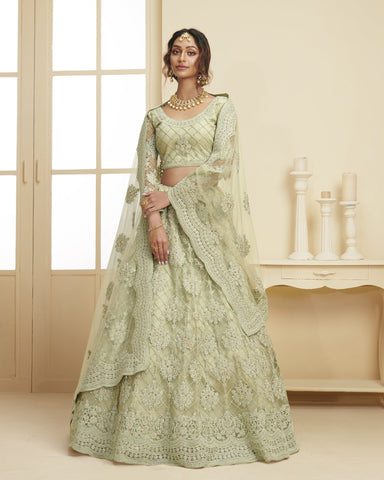 Mint Green Color Wedding Lehenga Choli In Net Fabric