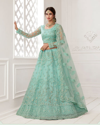 Turquoise Blue Net Wedding Lehenga Choli