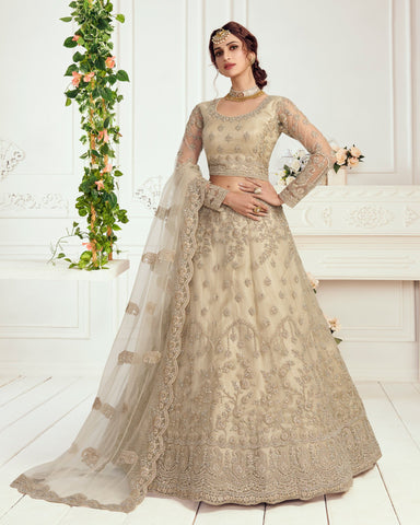 Sage Grey Net Wedding Lehenga Choli