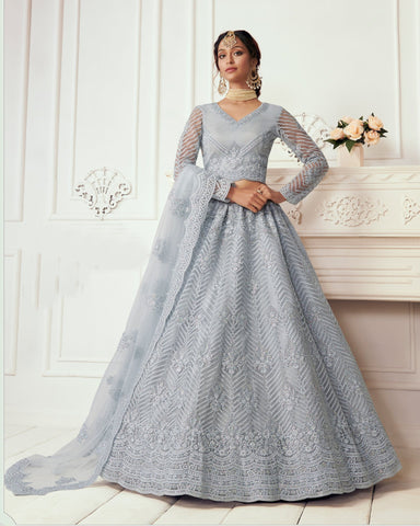 Periwinkle Blue Net Wedding Lehenga Choli
