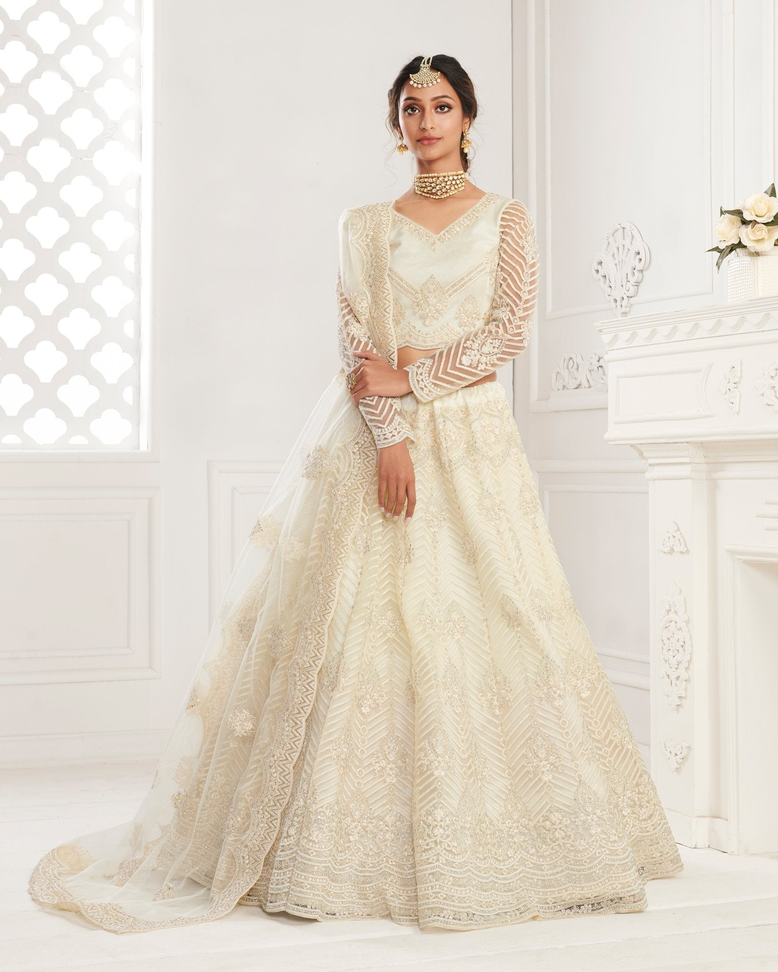 Off White Net Wedding Lehenga Choli