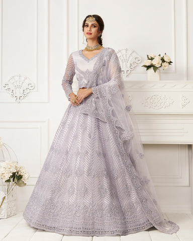 Lavender Net Wedding Lehenga Choli