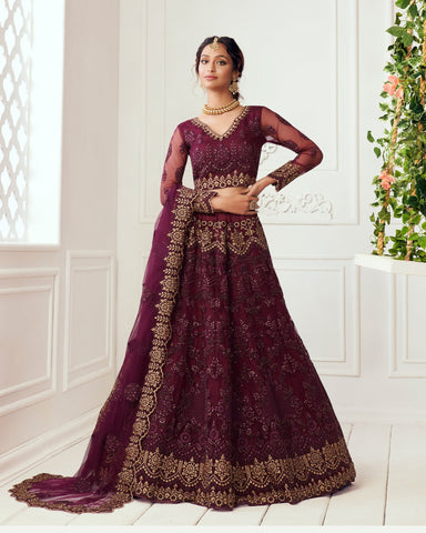 Wine Net Wedding Lehenga Choli