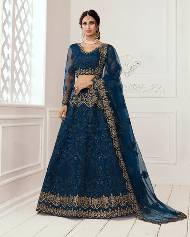 Prussian Blue Net Wedding Lehenga Choli