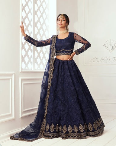Deep Blue Net Wedding Lehenga Choli
