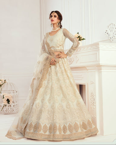 Ivory Net Wedding Lehenga Choli
