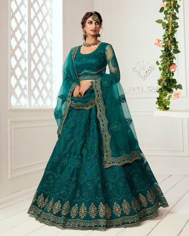 Teal Green Net Wedding Lehenga Choli